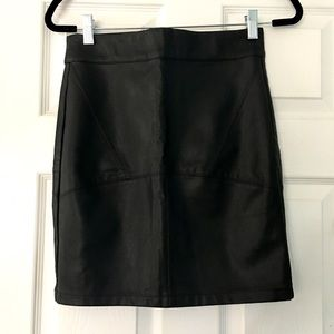 Black Faux Leather High Waisted Pencil Skirt